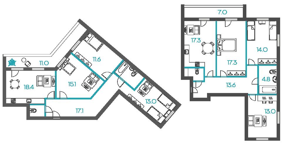 3-комнатные квартиры - от 7 млн рублей