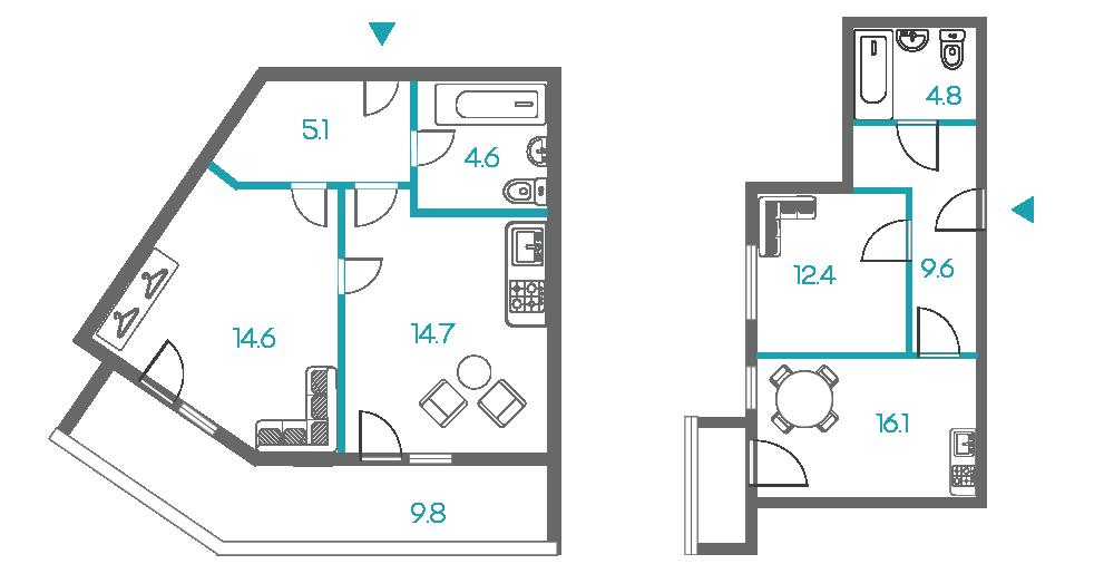 1-комнатные квартиры - от 4 млн рублей