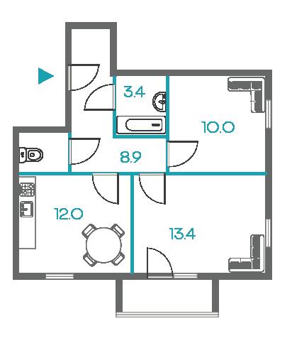 2-комнатные квартиры - от 5.5 млн рублей
